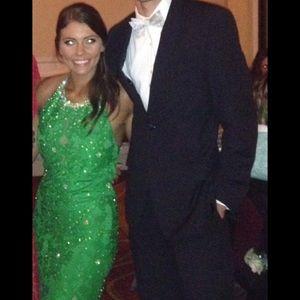Green lace high neck Jovani prom dress